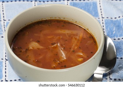Russian cabbage soup (Shchi) in ceramic bowl