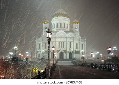 Russian The Cathedral Of Christ The Savior in the snowfall.