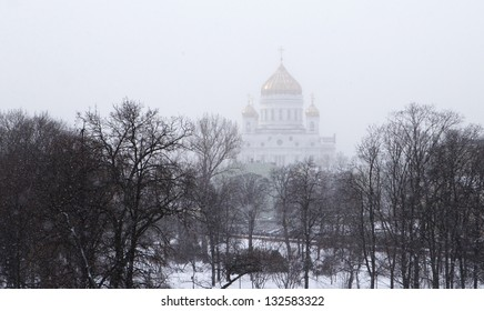 Russian Cathedral church is seen during sunny and cold day in winter in Moscow