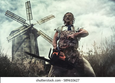 Russian Chainsaw Massacre. Cosplay at the Texas Chainsaw Massacre.