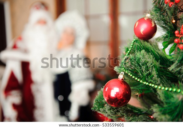 Russian Christmas characters: Ded Moroz (Father Frost) and Snegurochka (Snow Maiden)