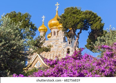 The Russian Church of Mary Magdalene on the Mount of Olives, Jerusalem, Israel, Middle East.