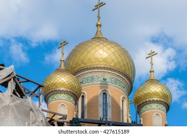 Russian Church (St. Nicholas Russian Church) in old town Bucharest, Romania in process of restoration