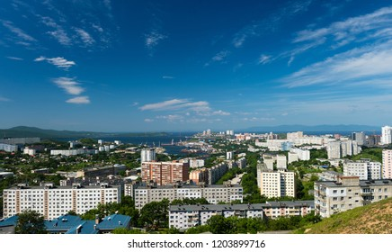 The Russian city of Vladivostok. Vladivostok, hot summer afternoon. Golden Horn Bay Russia.