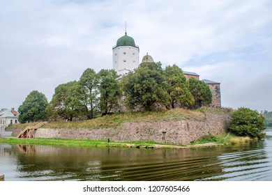 The Russian city of Vyborg. Vyborg castle is surrounded by water on all sides and is located on the island