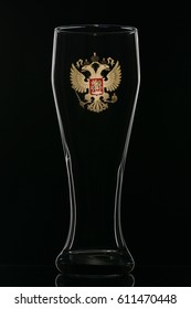 Russian coat of arms stamped on a beer mug, beer patriotism