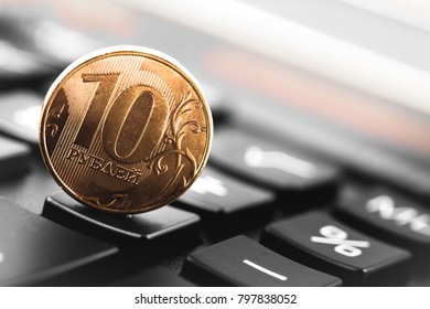 russian coin, ten rubles coin with calculator