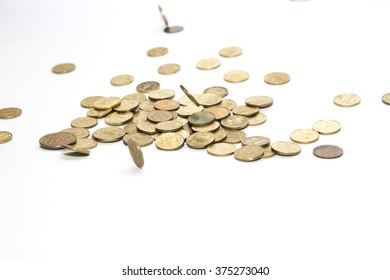 Russian coins fall into a pile