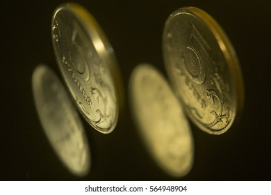 Russian coins on the black background.