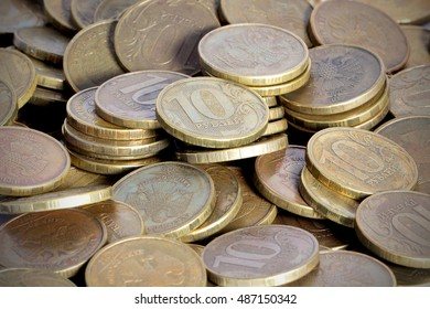 Russian coins on the table