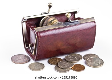 Russian coins in a purse