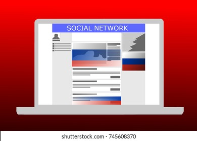 Russian collusion concept illustrated of a social media website with Russian-backed ads and posts. Background color is red
