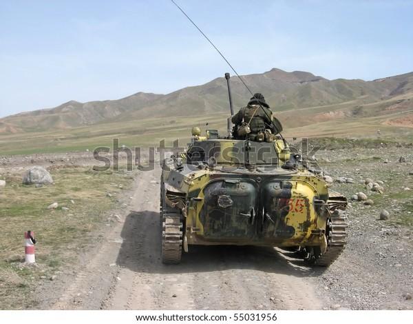 Russian combat vehicles in Tajikistan