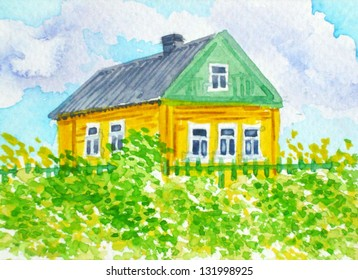 Russian Country.Yellow House