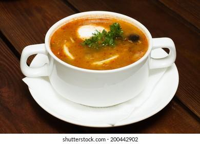 Russian cuisine, soup hodgepodge - soljanka