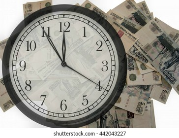 Russian currency at 1,000 rubles on a white background with a clock