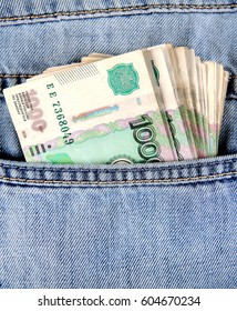 Russian Currency in the Pocket of the Jeans closeup