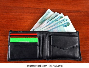 Russian Currency in the Wallet on the Table closeup