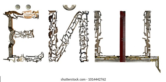 Russian Cyrillic alphabet  letters assembled from metallic parts, isolated on white
