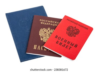 Russian documents isolated on the white background