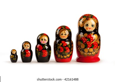 Russian doll - matreshka. All dolls can be gathered inside big one.