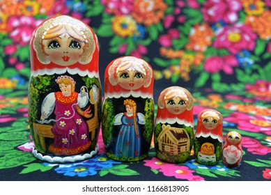 Russian doll on a scarf