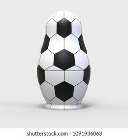 russian doll soccer ball 3d renderig