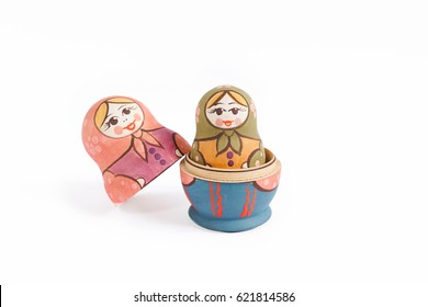 Russian dolls babushka (or matryoshka) or Colorful Russian nesting dolls isolated on a white background.