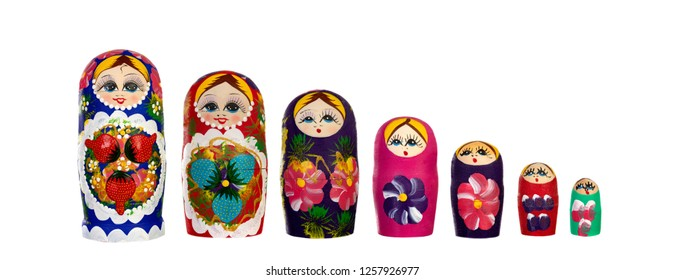 Russian Dolls Babushkas Matryoshkas isolated on a white background