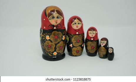 Russian dolls. Family. Isolated on background. Matryoshka. Babushka.