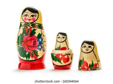 Russian dolls matreshka on the white background