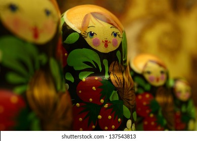 Russian dolls on blurry background