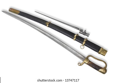 Russian dragoon saber. Soldier type. Model 1881. From Civil war time in Russia (1918-1922). Completed with bayonet. Path on white background.