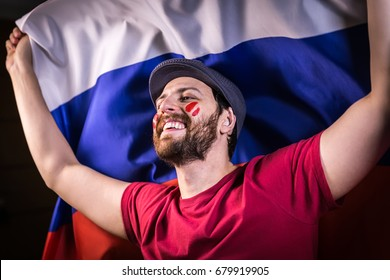 Russian fan holding the national flag