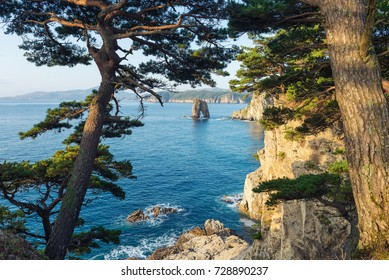 Russian Far Eastern peninsula named Gamova. Cape Pine Bay on the Gorshkov of the sea of Japan.