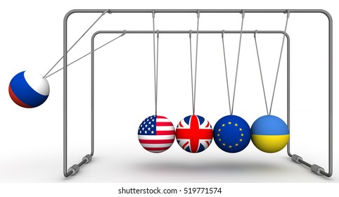 The Russian Federation as a factor in the dynamics of geopolitics. Ball with flag of the Russian Federation brings balls from a state of equilibrium with the flags of other countries. 3D Illustration