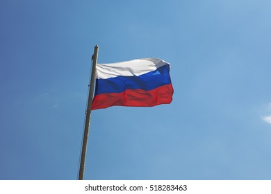 The Russian Federation flag flying in the wind