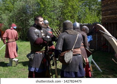 "Russian Federation, Khanty-Mansi Autonomous Okrug – Yugra, Surgut, the Sayma park, June 9, 2019: Historical festival ""Mangazeyskiy khod"". A bearded man dressed as a 16th century warlord."
