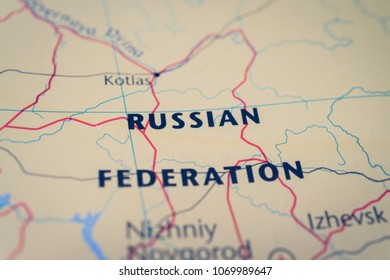 Russian Federation on map background