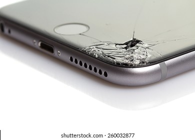 RUSSIAN FEDERATION, SOCHI - MARCH 13, 2015: iphone 6 plus with broken screen on 18 november 2014 in Russian Federation Sochi