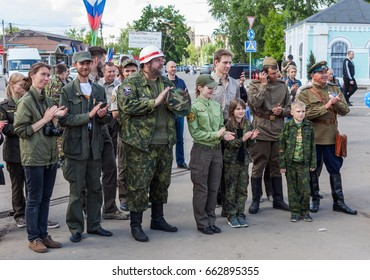 "Russian Federation, town of Golitsyno. June 17, 2017. A celebration on the occasion of the arriving of the historical armored vehicles rally Moscow-Brest ""The Road of Bravery"" (Doroga Myzhestva)."