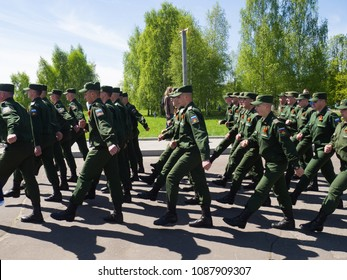 RUSSIAN FEDERATION,DOMODEDOVO DISTRICT, GORKI LENINSKIE VILLAGE: MAY 9, 2018 - the Day of Victory of the red Army and the Soviet people over Nazi Germany in the great Patriotic war