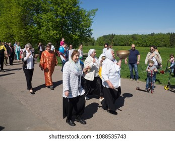 RUSSIAN FEDERATION,DOMODEDOVO DISTRICT, GORKI LENINSKIE VILLAGE - MAY 9, 2018: Parade of an immortal regiment. Children with portraits of those killed in the Second World War