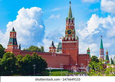 Russian Federation.Spasskaya Tower on Red Square.Kremlin Palace in Moscow.The central square of Moscow. The walls of the Kremlin. The architecture of the capital of Russia.Red square in sunny weather.