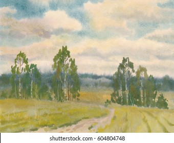 Russian field and forest in summer day
