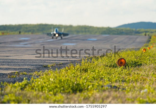 Russian fighter jet during taxing