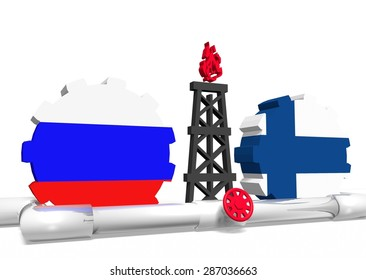 russian and finland flags on gears, gas rig model between them, gas transit from russia to finland