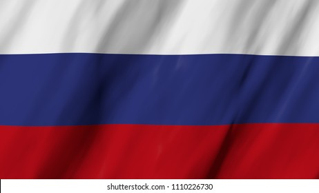 The Russian flag in 3d, waving in the wind, on close