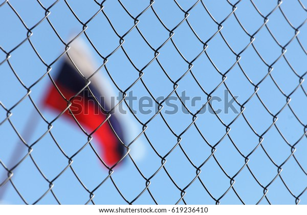 The Russian flag is behind bars