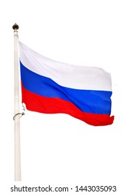 The Russian flag flutters in the wind on flag stock